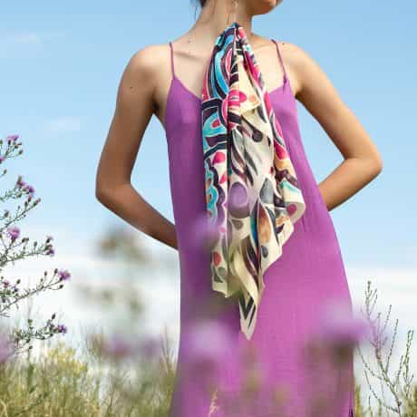 """фотография Square scarf """"Pink abstract"""" #2"""