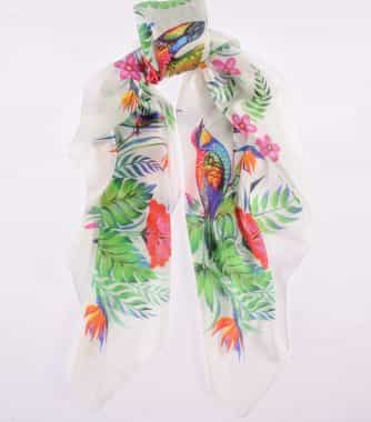 "фотография Square scarf ""Passion flower"" White"