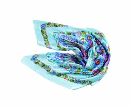 "фотография Turquoise square scarf ""Magic Firebirds"" #1"