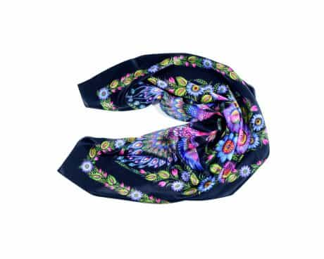 "фотография Black square scarf ""Magic Firebirds"" #1"