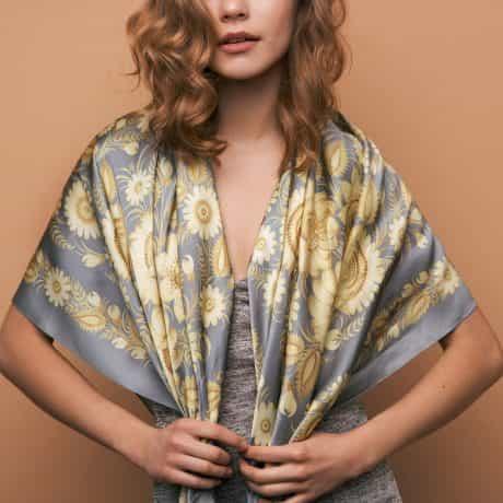 """фотография Square scarf """"Lemon Garden"""" #1"""