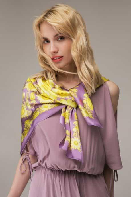 """фотография Square scarf """"Sunny violet"""" #1"""